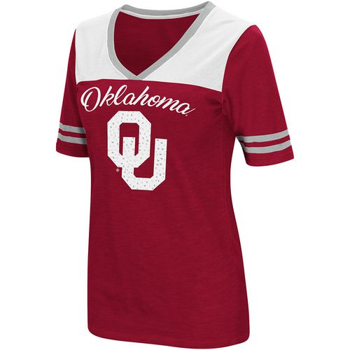 Colosseum Athletics Women's University of Oklahoma Twist 2.1 V-Neck T-shirt