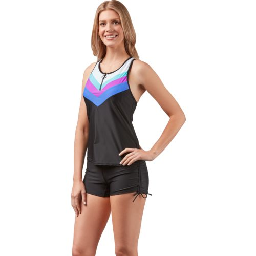 Gerry Women's Swim Sporty Chevron Zipper Tankini Swim Top