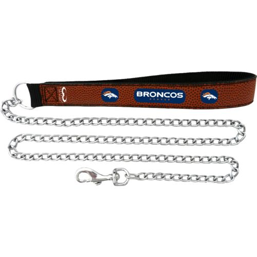 GameWear Denver Broncos Football Leather Chain Leash