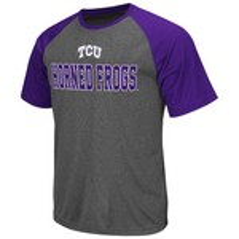 Colosseum Athletics Men's Texas Christian University Rider Short Sleeve Poly Raglan T-shirt