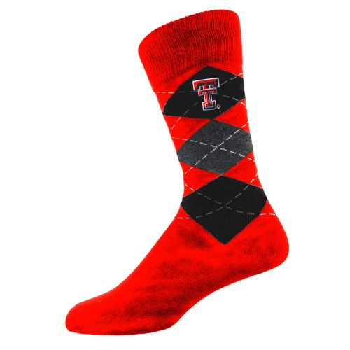 Two Feet Ahead Men's Texas Tech University Argyle Crew Socks