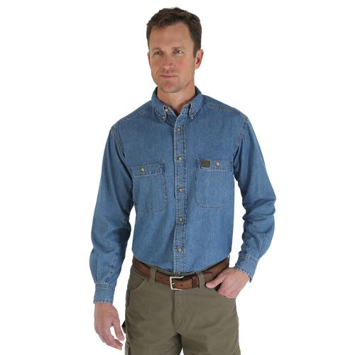 Display product reviews for Wrangler Men's Riggs Workwear Denim Button Down Work Shirt