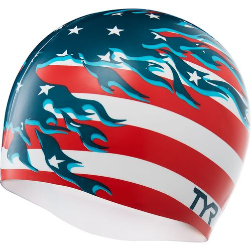 TYR Adults' Blazing Patriot Swim Cap