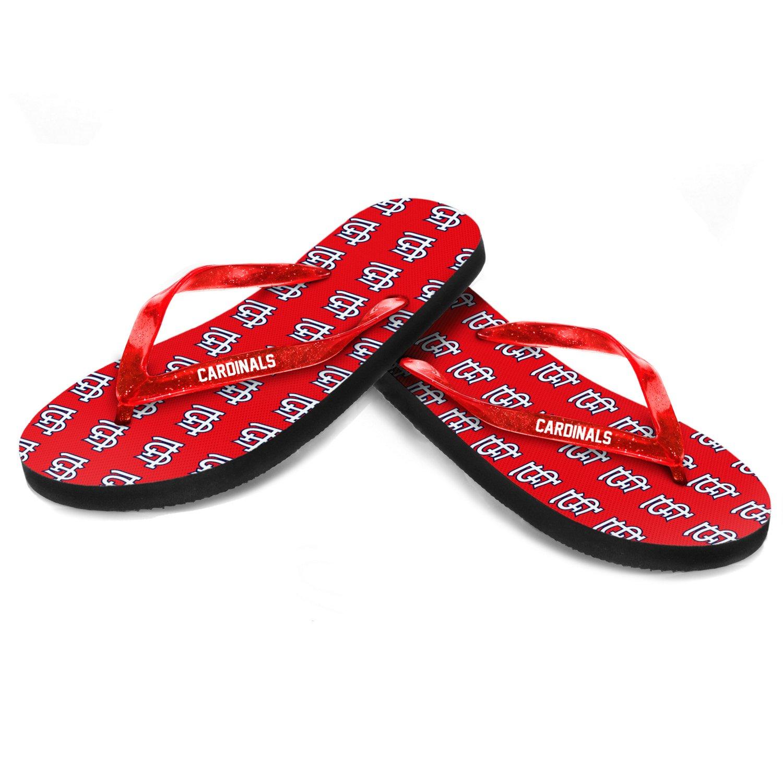Forever Collectibles™ Women's St. Louis Cardinals Glitter Logo Flip-Flops