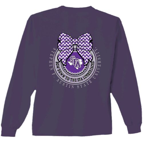 New World Graphics Women's Stephen F. Austin State University Ribbon Bow Shirt