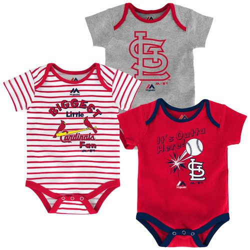 Majestic Infants' St. Louis Cardinals Home Run Onesies 3-Pack - view number 4