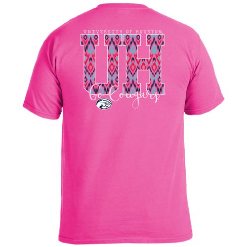 Image One Women's University of Houston Ikat Letter Script T-shirt