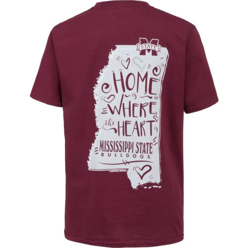New World Graphics Girls' Mississippi State Where the Heart Is Short Sleeve T-shirt