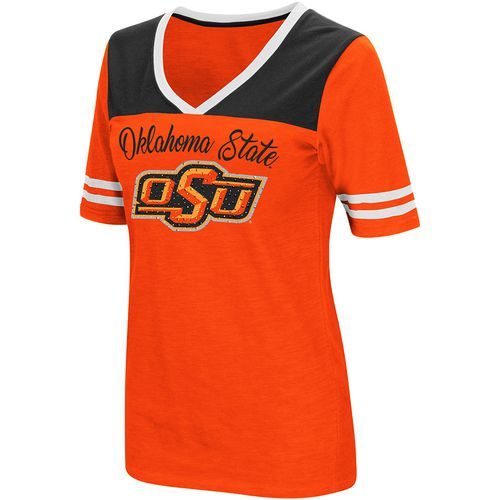 Colosseum Athletics Women's Oklahoma State University Twist 2.1 V-Neck T-shirt