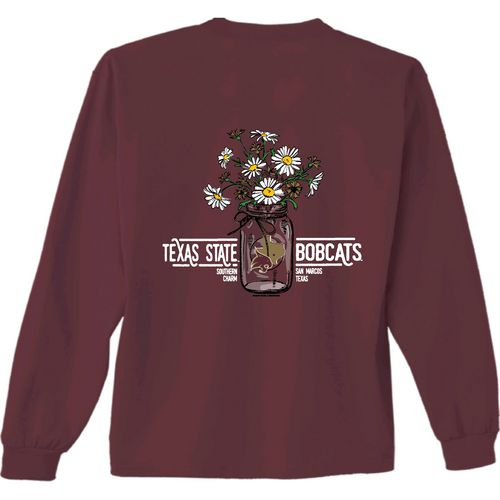 New World Graphics Women's Texas State University Bouquet Long Sleeve T-shirt
