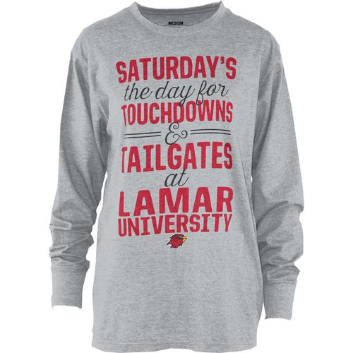 Three Squared Juniors' Lamar University Touchdowns and Tailgates T-shirt
