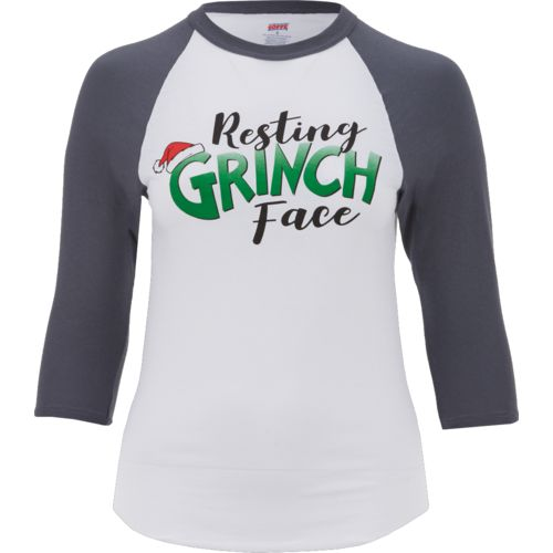 Soffe Women's Resting Grinch Face Holiday Baseball 3/4 Sleeve T-shirt