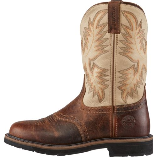 Justin Men s Stampede Steel-Toe Western Work Boots