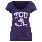 Step Ahead Juniors' Texas Christian University Burnout T-shirt with Pocket