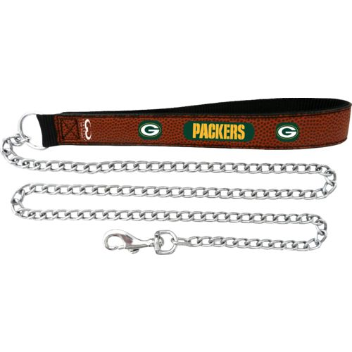 GameWear Green Bay Packers Football Leather Chain Leash