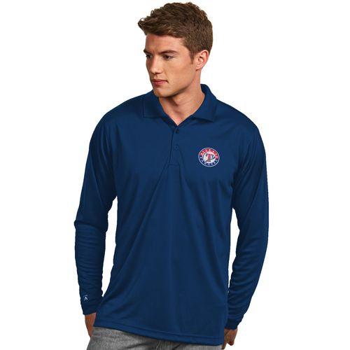 Antigua Men's Texas Rangers Exceed Long Sleeve Polo Shirt