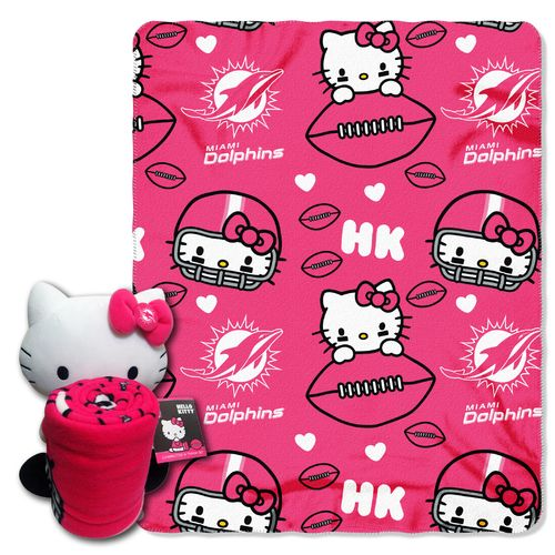 The Northwest Company Miami Dolphins Hello Kitty Hugger and Fleece Throw Set