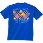 New World Graphics Women's University of Kansas Bright Plaid T-shirt