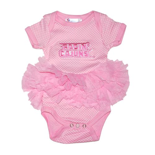 Two Feet Ahead Infant Girls' University of Louisiana at Lafayette Pin Dot Tutu Creeper - view number 1