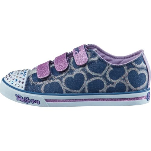 SKECHERS Girls' Twinkle Toes Shuffles Glitter Heart Shoes