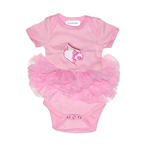 Two Feet Ahead Infant Girls' University of Louisville Pin Dot Tutu Creeper