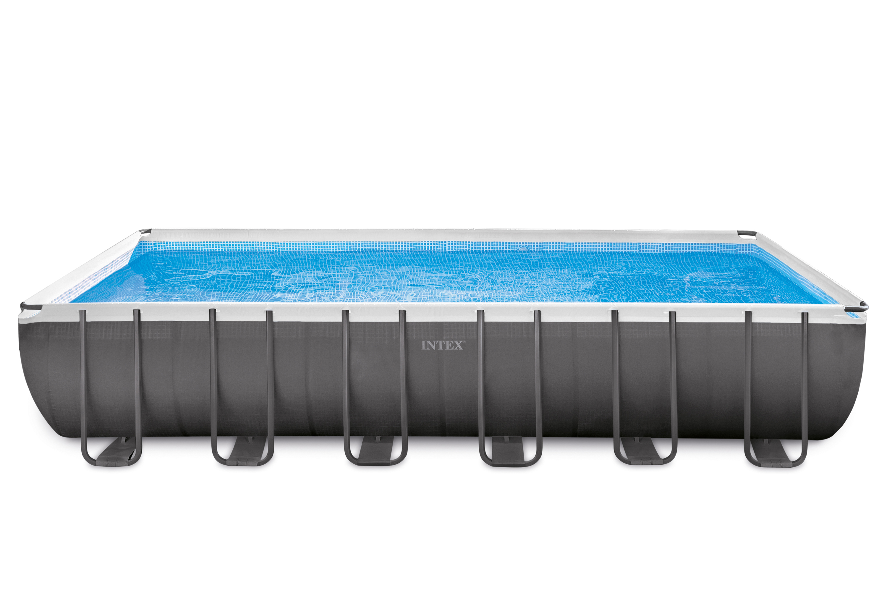 INTEX 24 ft x 12 ft x 52 in Ultra Frame Rectangular Pool Set with 2,100 Gal Sand Filter Pump