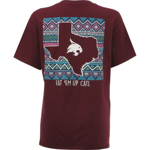 New World Graphics Women's Texas State University Terrain State T-shirt