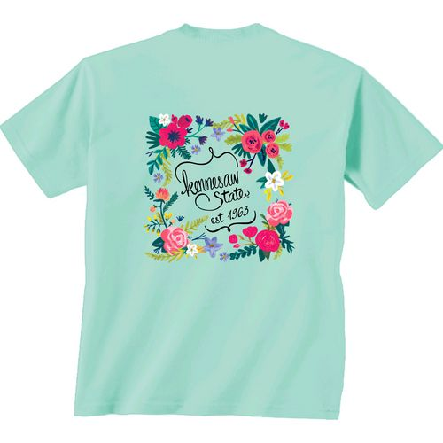 New World Graphics Women's Kennesaw State University Comfort Color Circle Flowers T-shirt