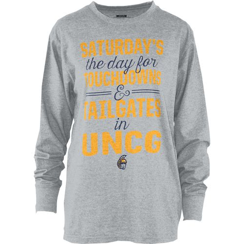 Three Squared Juniors' University of North Carolina at Greensboro Touchdowns and Tailgates T-shirt