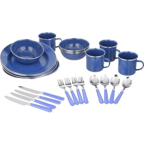 Stansport Deluxe Enamel Tableware 24-Piece Set
