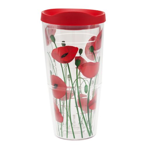 Tervis 24 oz. Poppies Tumbler with Red Travel Lid