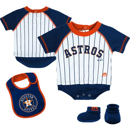 Majestic Infant Boys' Houston Astros Little Player Creeper, Bootie and Bib Set