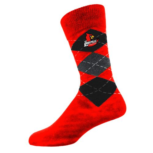 Two Feet Ahead Men's University of Louisville Argyle Crew Socks