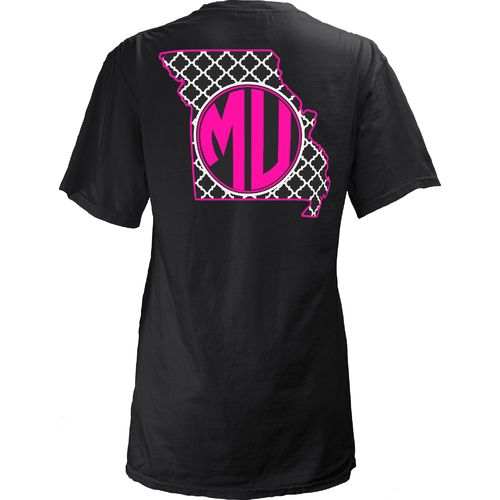 Three Squared Juniors' University of Missouri Quatrefoil State Monogram T-shirt