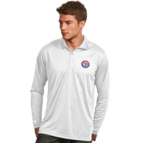 Antigua Men's Texas Rangers Exceed Long Sleeve Polo Shirt - view number 1
