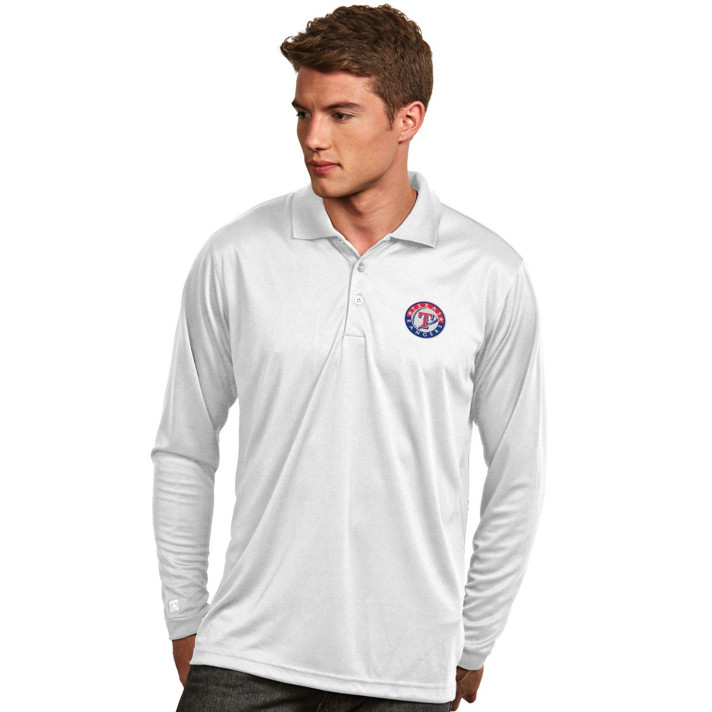 Antigua Men's Texas Rangers Exceed Long Sleeve Polo Shirt