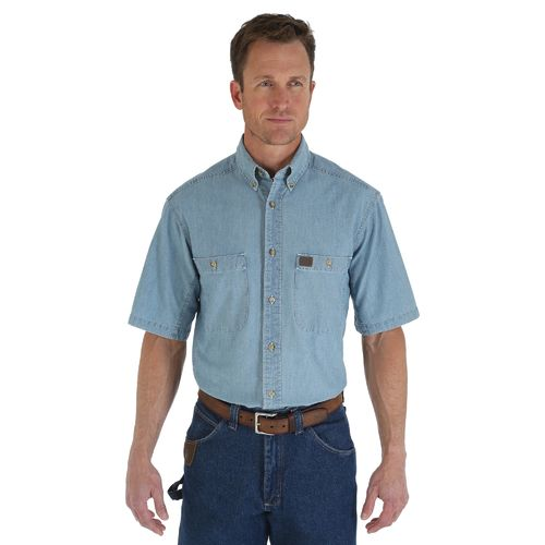 Wrangler Men's Riggs Workwear Chambray Button Down Work Shirt