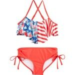 O'Rageous® Juniors' Stars and Stripes Flounce 2-Piece Swimsuit