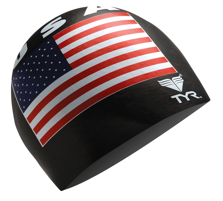 TYR Adults' USA Silicone Swim Cap