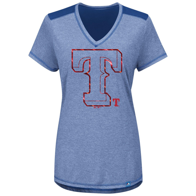 Majestic Women's Texas Rangers Bright Lights V-neck T-shirt