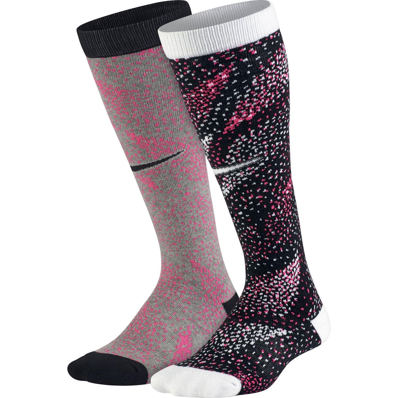 Nike Girls' Graphic Cotton Knee-High Socks 2-Pair
