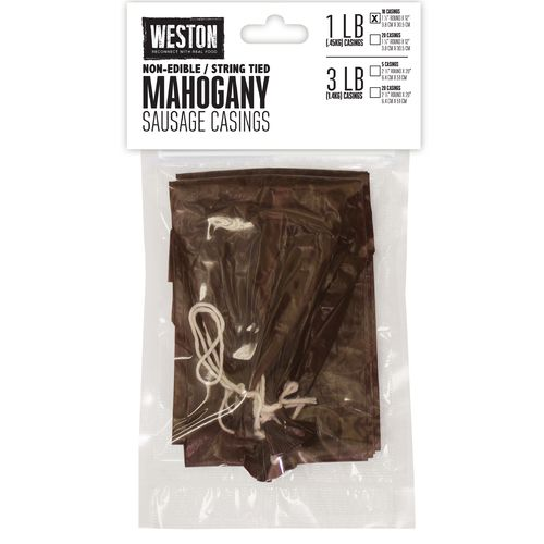 Weston 1.5' x 12' Mahogany 1 lb. Sausage Casings 10-Pack