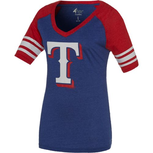 G-III for Her Women's Texas Rangers G34Her Carve Up V-neck T-shirt
