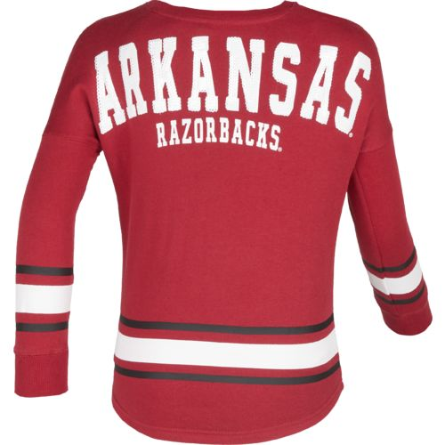 Colosseum Athletics™ Girls' University of Arkansas Boyfriend Varsity Pullover