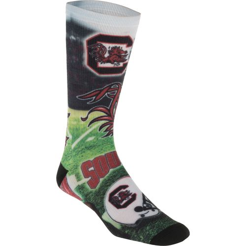 For Bare Feet Men's University of South Carolina Mascot Montage Sublimated Crew Socks