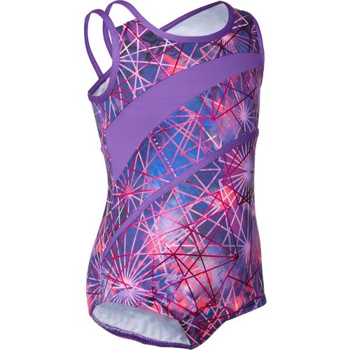 Capezio Girls' Future Star Electric Geometry Strappy Printed Leotard