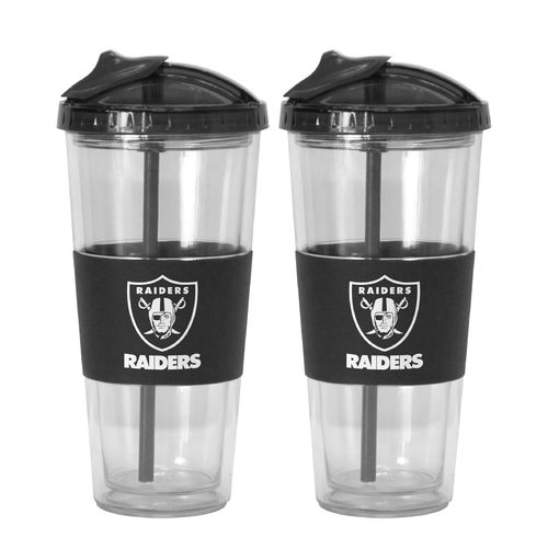 Boelter Brands Oakland Raiders 22 oz. No-Spill Straw Tumblers 2-Pack