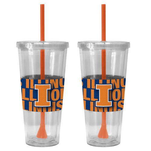 Boelter Brands University of Illinois Bold Neo Sleeve 22 oz. Straw Tumblers 2-Pack