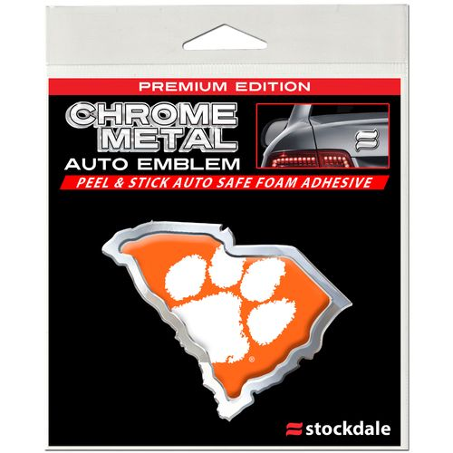 Stockdale Clemson University Chrome State Shape Auto Emblem