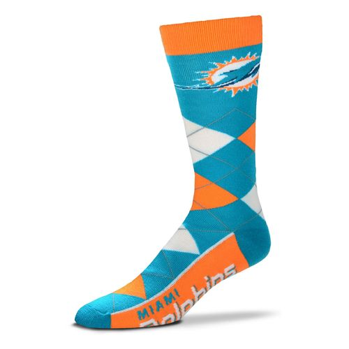 For Bare Feet Men's Miami Dolphins Flag Top Argyle Dress Socks